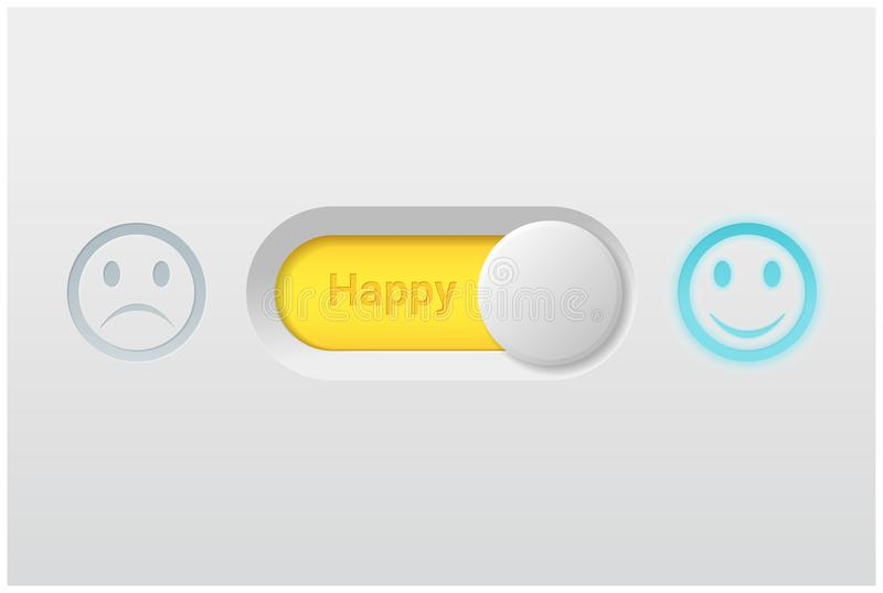 Emotional background with switch control turn on represent happy emotion stock illustration