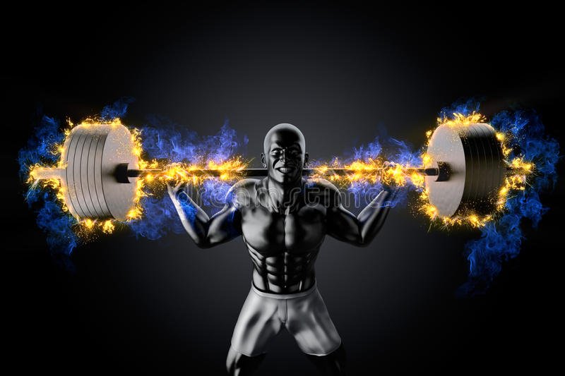 Emotional bodybuilder with burning barbell royalty free illustration