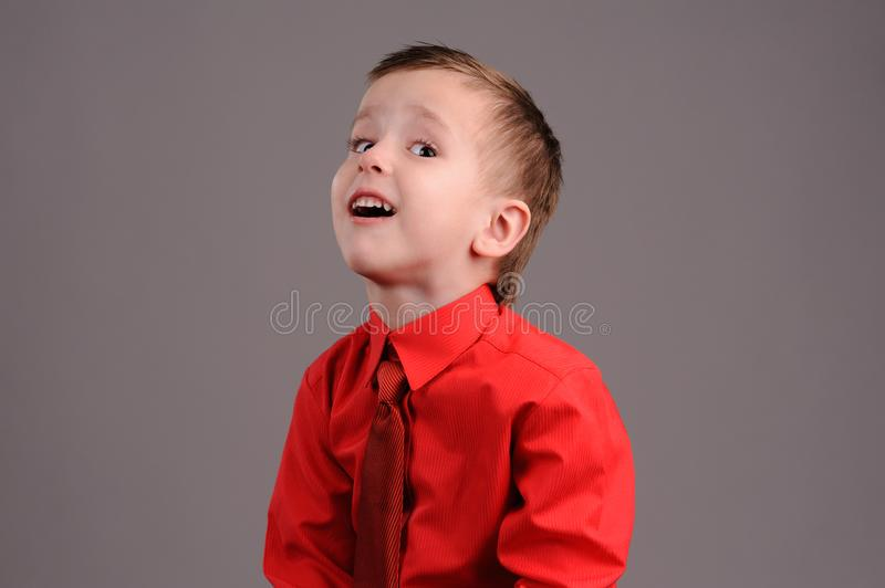 Emotional boy. Portrait of emotionally kid. Emotional boy on the grey background, adorable, childhood, defiance, fun, gesture, look, looking, model, male, posing stock photo