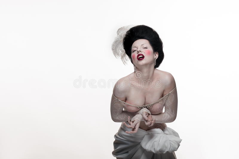 Download Emotional Brunette Actress Lady With White Feathers Stock Photo - Image: 83715526