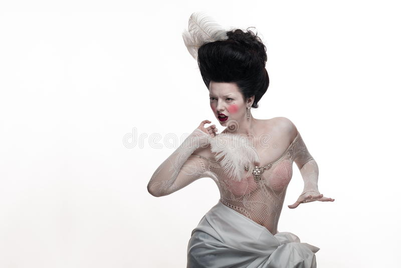 Download Emotional Brunette Actress Lady With White Feathers Stock Photo - Image: 83715590