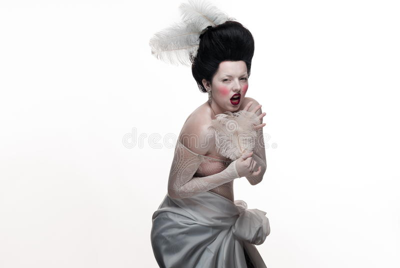 Download Emotional Brunette Actress Lady With White Feathers Stock Image - Image: 83716087