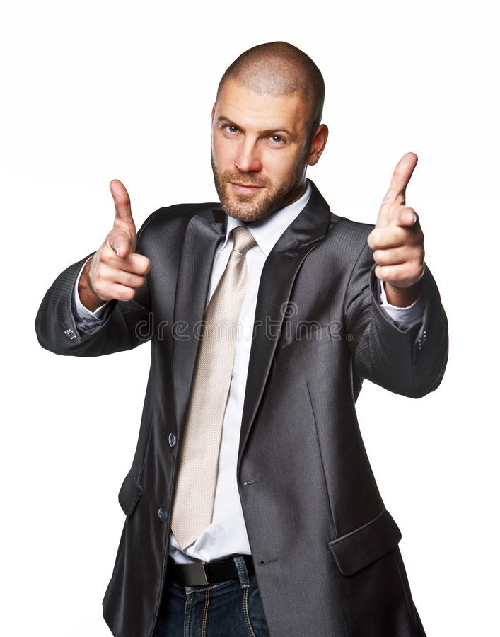 Business man in a suit isolated on white stock images