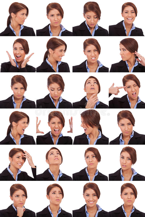Emotional collage of a businesswoman's faces royalty free stock image