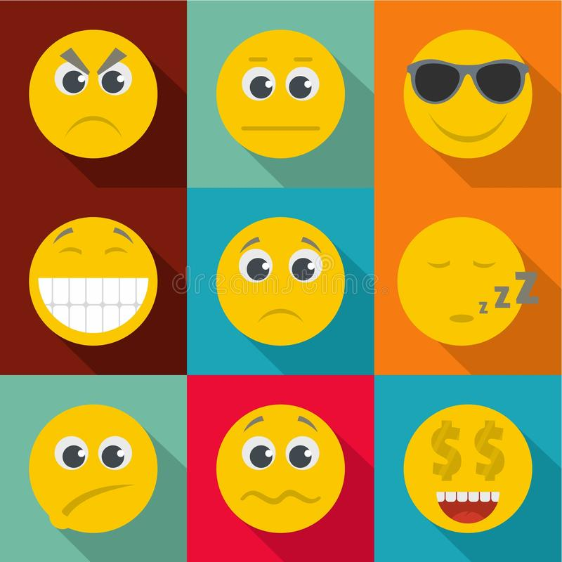 Emotional color icons set, flat style vector illustration