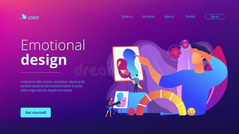 Emotional design concept landing page vector illustration