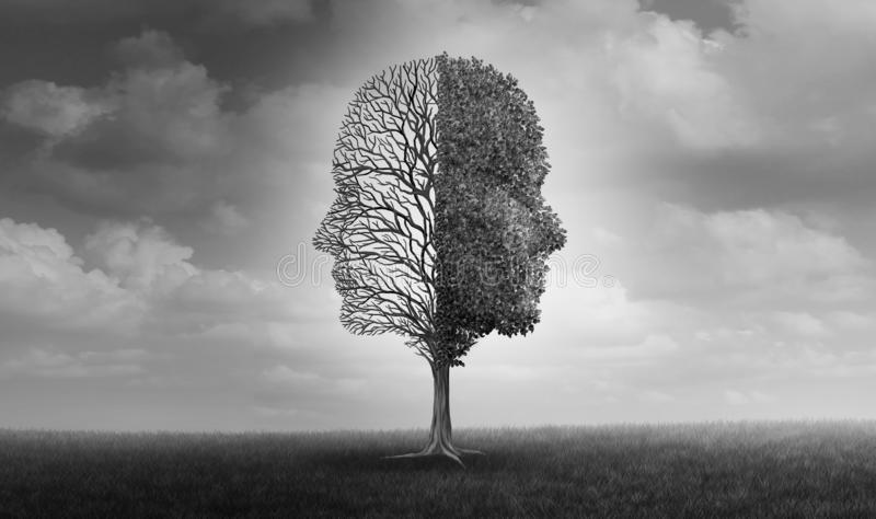 Emotional Disorder Psychology. Emotional disorder and human emotion or mood problem as a tree shaped as two human faces with one half empty branches and the vector illustration