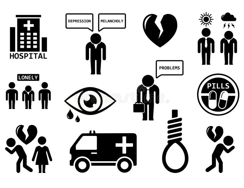 Emotional disorders concept icon set. Isolated emotional disorders concept icon set on white background vector illustration