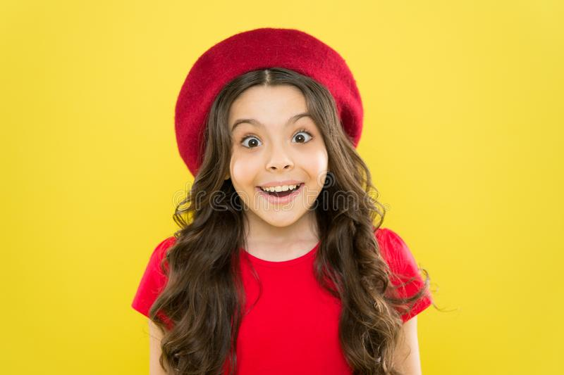 Emotional expression. Tips and tricks to loosen up in front of camera. Acting school for children. Girl artistic kid. Practicing acting skill. Acting academy royalty free stock image