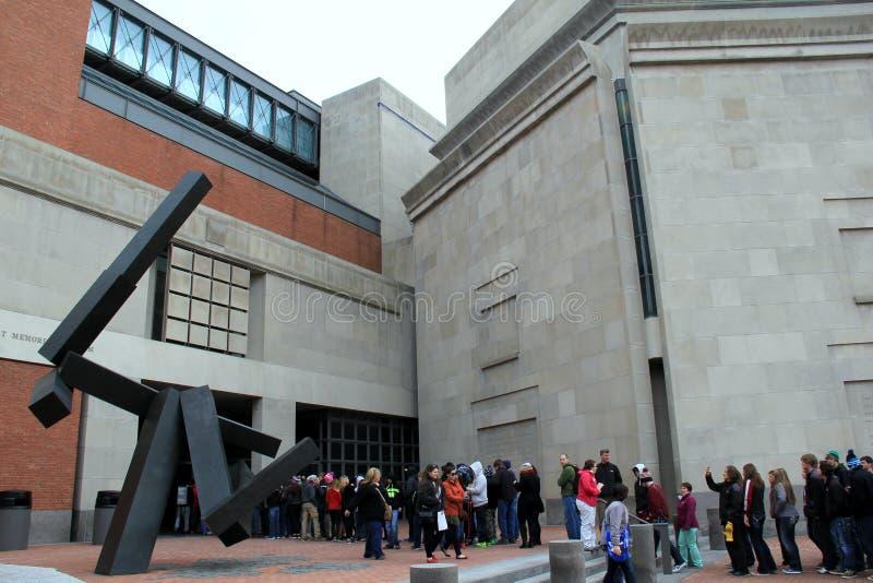 Emotional gathering while visitors wait to go inside, United States Holocaust Memorial Museum,Washington,DC,2015 royalty free stock photos