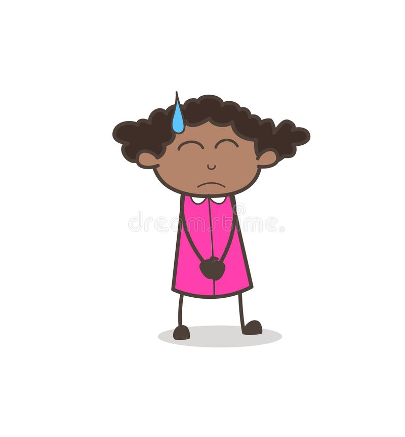 Emotional Girl Sad Face with Sweat Vector stock illustration
