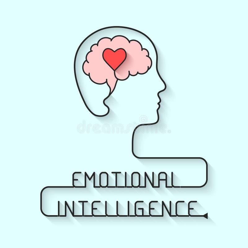 Emotional intelligence concept. Head, brain and heart symbols. Vector illustration vector illustration