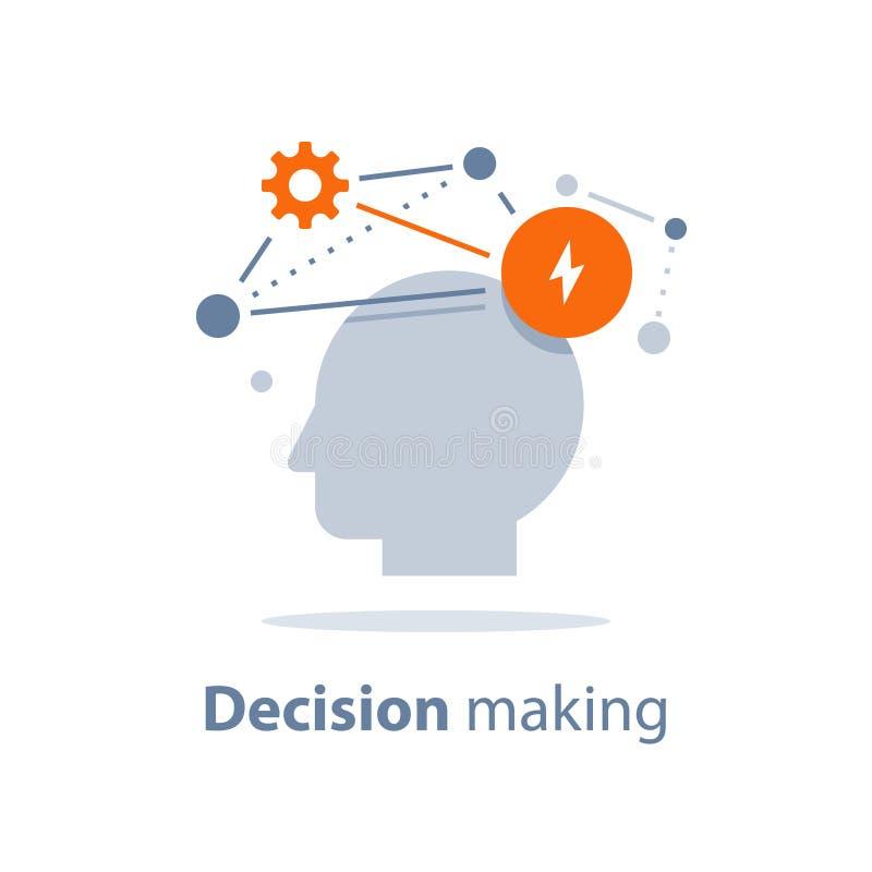Emotional intelligence, decision making, positive mindset, psychology and neurology, behavior science, creative thinking. Decision making, emotional intelligence royalty free illustration