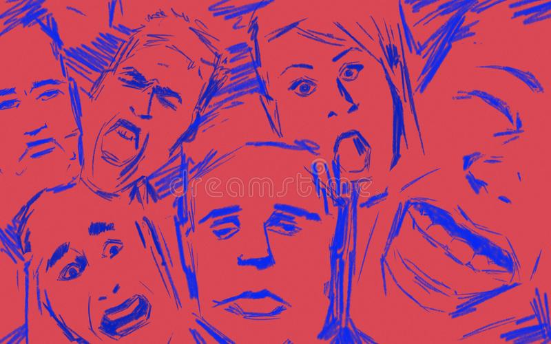 Emotional intelligence expressed by different face expressions. Red and blue sketch style stock photo