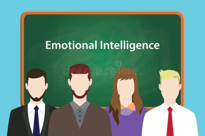 Emotional intelligence illustration with four people in front of green chalk board and white text stock illustration