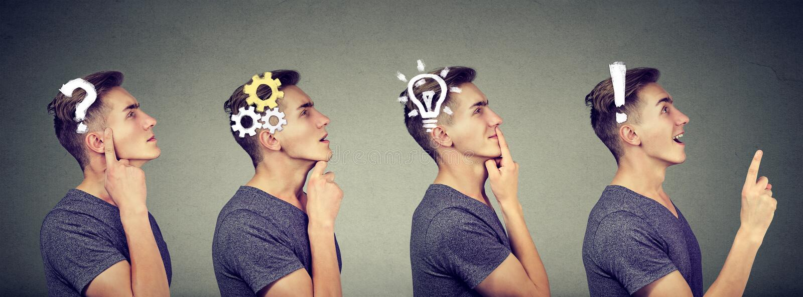 Emotional intelligence. Side view sequence of a man thoughtful, thinking, finding solution with gear mechanism, question, exclamat stock photo
