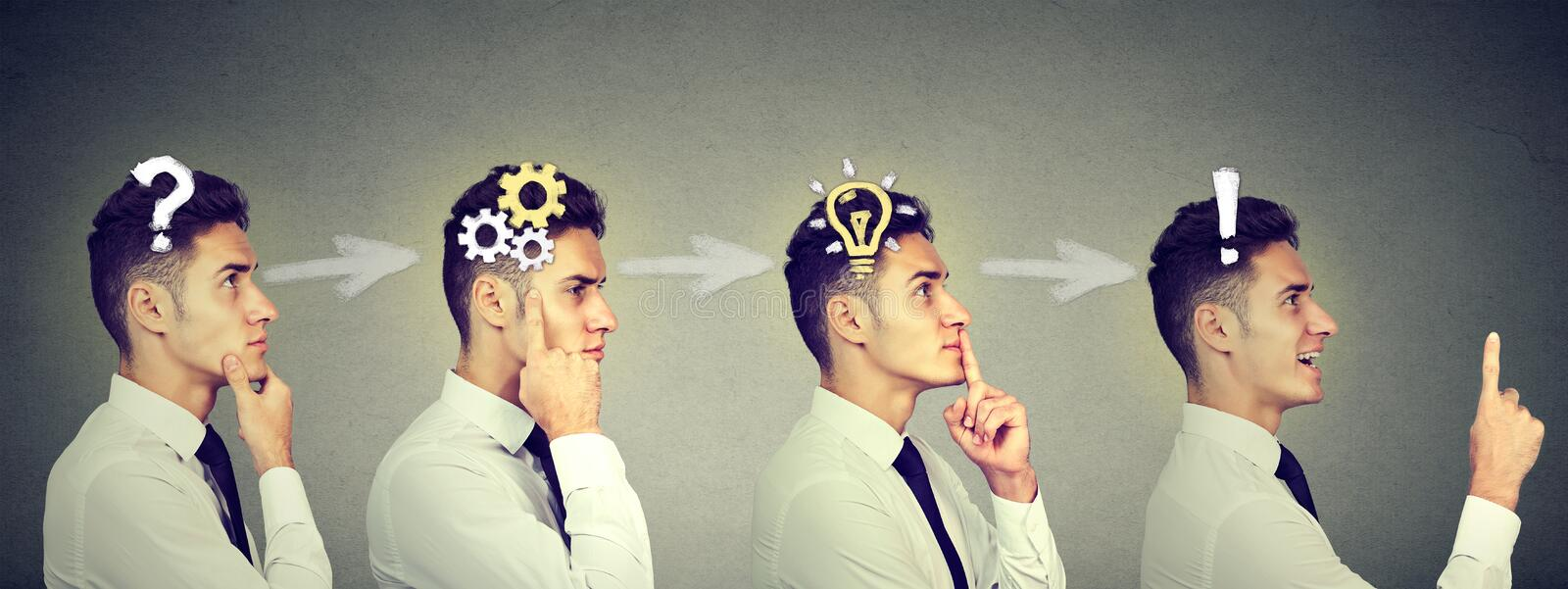 Emotional intelligence. Sequence of a business man thinking, finding solution to a problem with gear mechanism, question, exclamat royalty free stock images