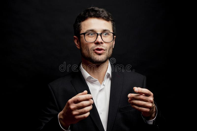 Emotional interesting teacher eluciding the text. Interpretative skills stock photography