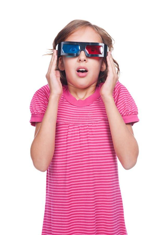 Download Emotional Little Girl In 3d Glasses Stock Illustration - Image: 27341600