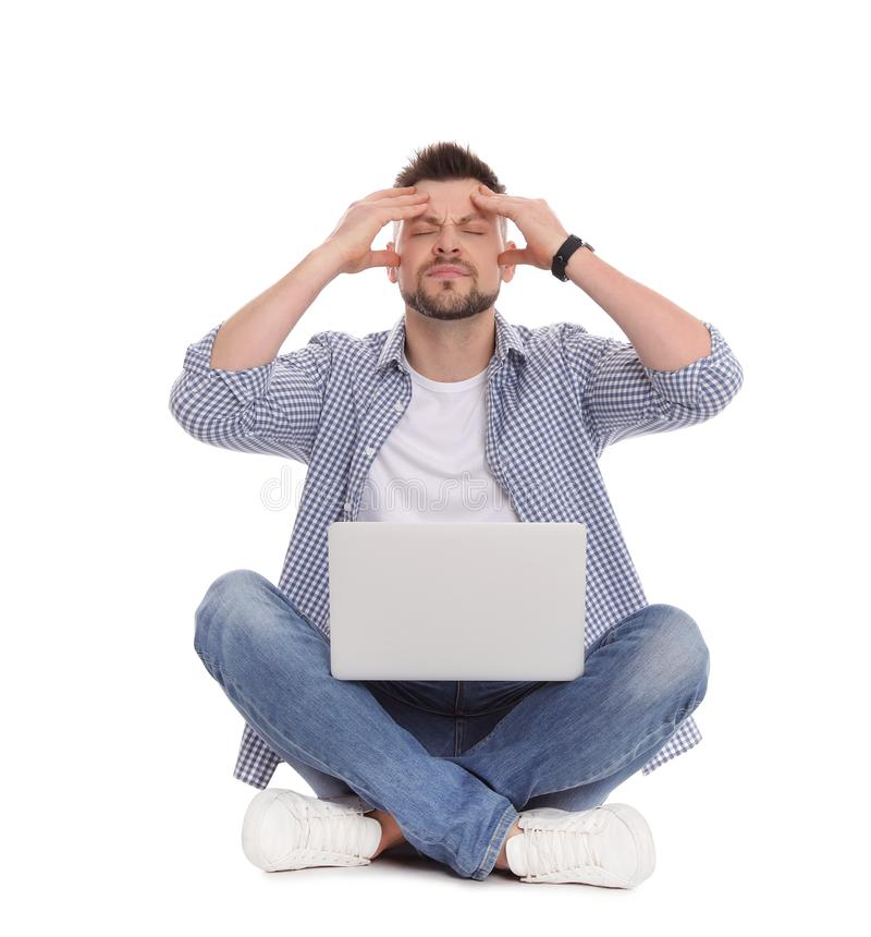 Emotional man with laptop on white royalty free stock images