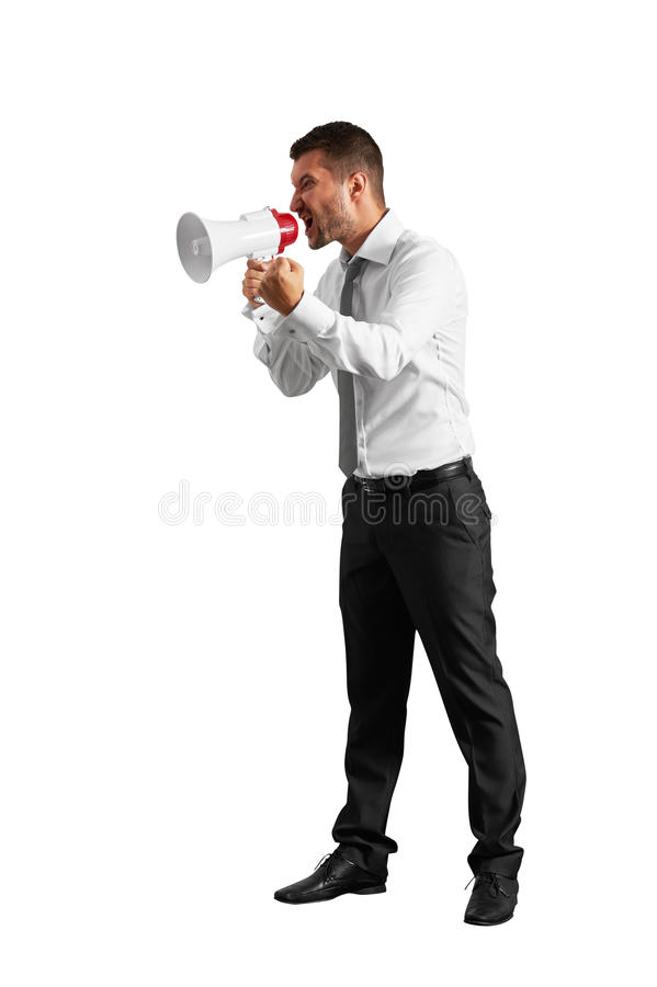Emotional man with megaphone royalty free stock images
