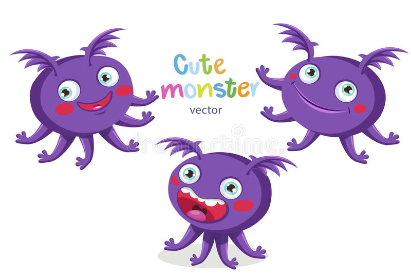 Emotional Person. Cute Cartoon Octopus Monsters Emotions. Vector Set Isolated On White Background. royalty free illustration