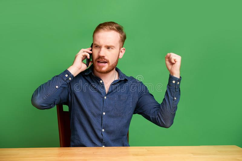 Emotional phone call royalty free stock photos