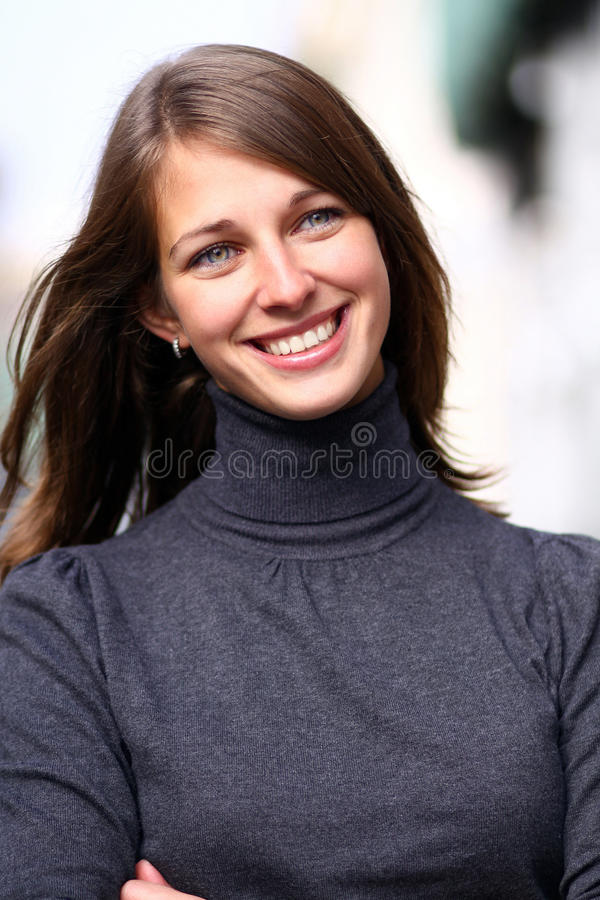 Emotional portrait of a cheerful girl stock image