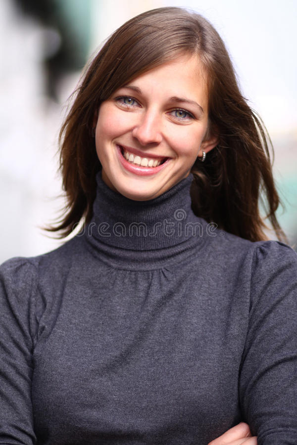 Emotional portrait of a cheerful girl stock photo