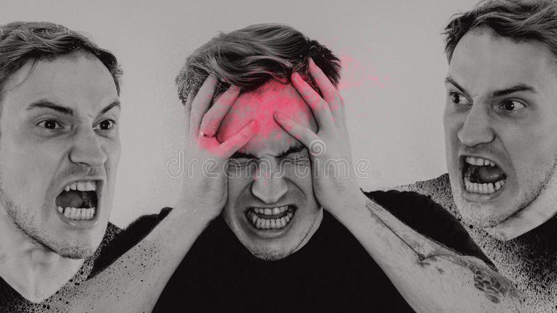 Emotional portrait of a crazy guy in close-up. concept: the nervous breakdown, mental disease, headaches and migraine. black and w. Hite treatment royalty free stock image