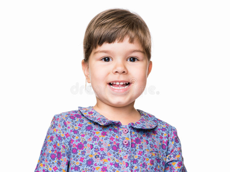 Emotional portrait of little girl royalty free stock image