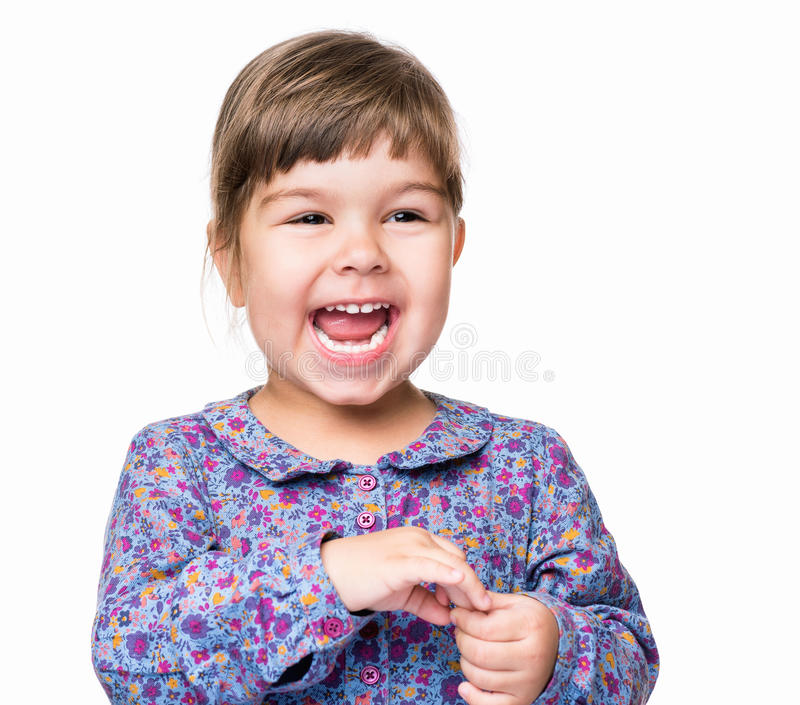 Emotional portrait of little girl royalty free stock photos