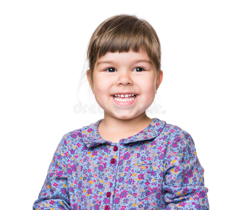 Emotional portrait of little girl royalty free stock photo