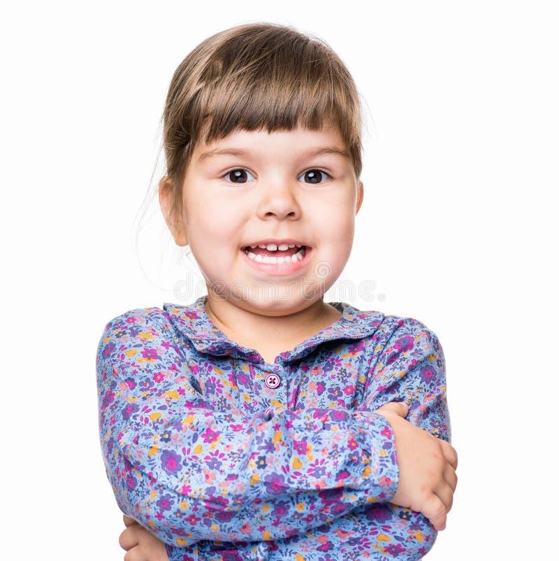 Emotional portrait of little girl stock photos