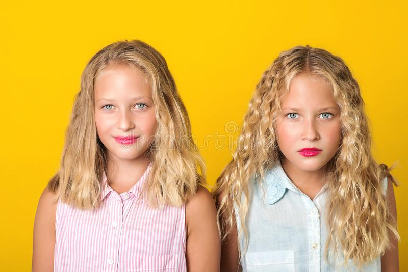 Emotional pretty teenage twins girls with blonde hair, amazing eyes and clean skin. People, emotions, teens and friendship concept stock photo