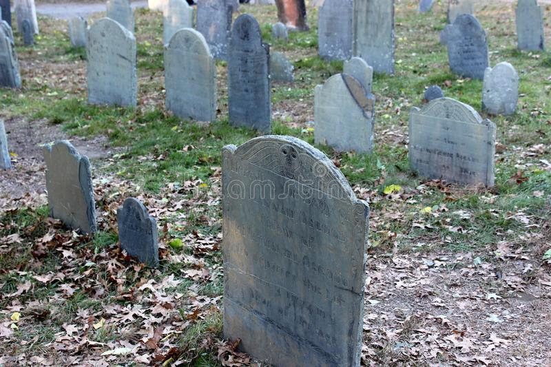 A number of old weathered historic graves, The Burying Point, Salem Massachusetts, 2018 royalty free stock photos