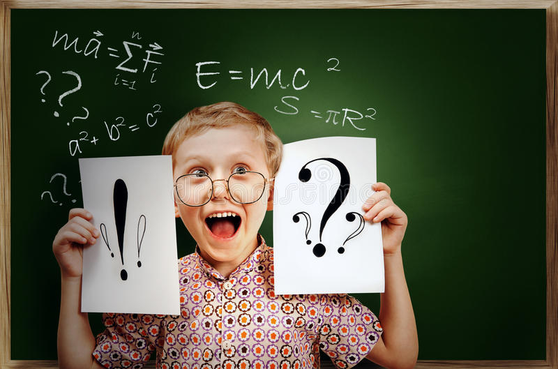 Emotional Screaming Pupil Boy Near Chalkboard Stock Image
