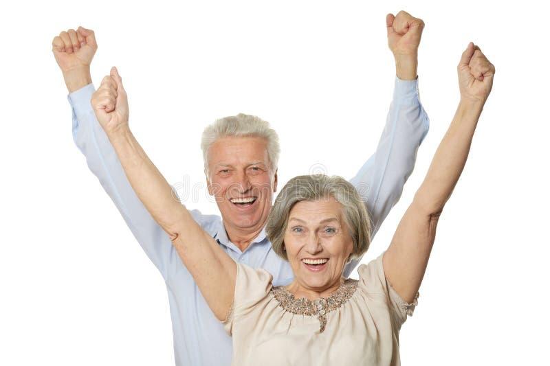 Emotional senior couple royalty free stock image