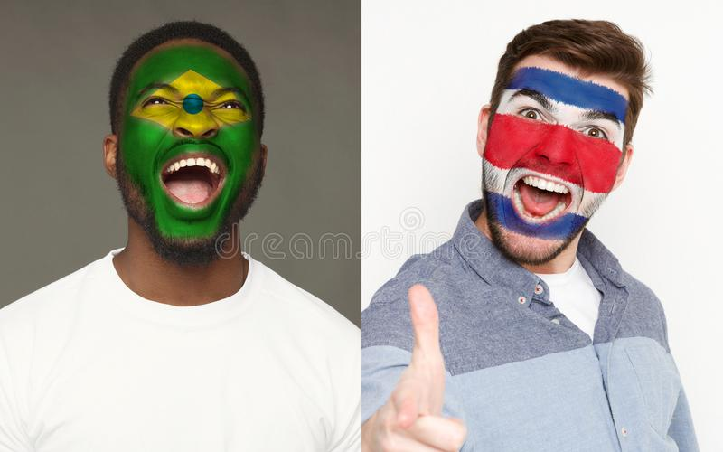Emotional soccer fans with painted flags on faces. Emotional soccer fans with painted Brazil and Costa Rica flags on faces. Confrontation of football team stock images