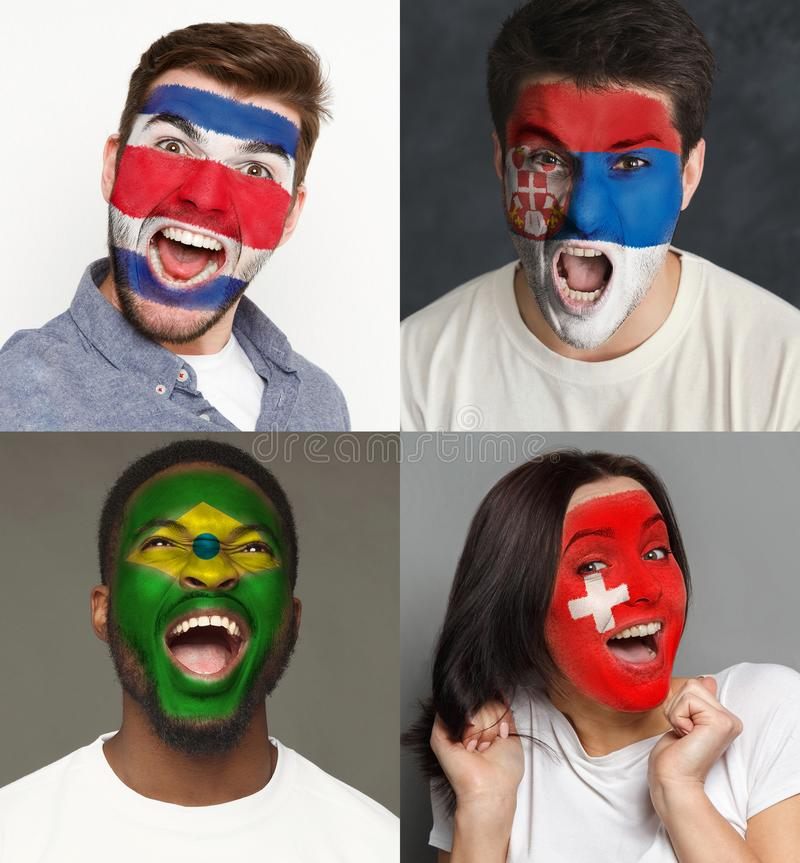 Emotional soccer fans with painted flags on faces. Emotional soccer fans with painted flags of Brazil, Switzerland, Costa Rica and Serbia on faces. Rooters of royalty free stock images