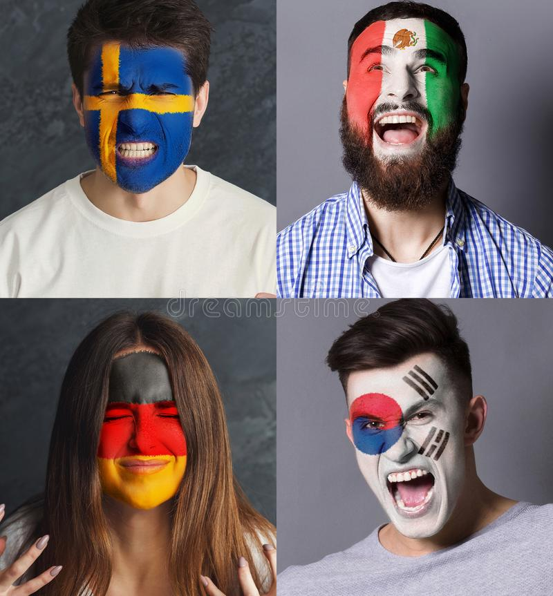 Emotional soccer fans with painted flags on faces. Emotional soccer fans with painted flags of Germany, Mexico, Sweden and South Korea on faces. Rooters of stock photography