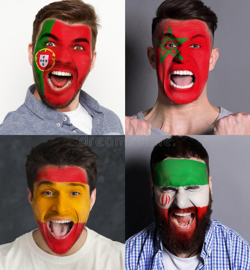 Emotional soccer fans with painted flags on faces. Emotional soccer fans with painted flags of Spain, Portugal, Morocco and Iran on faces. Rooters of football stock photos