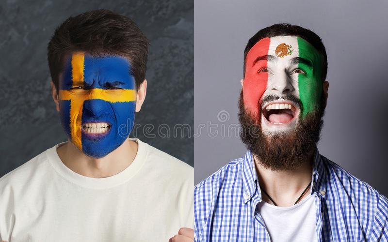 Emotional soccer fans with painted flags on faces. Emotional soccer fans with painted Sweden and Mexico flags on faces. Confrontation of football team supporters stock image