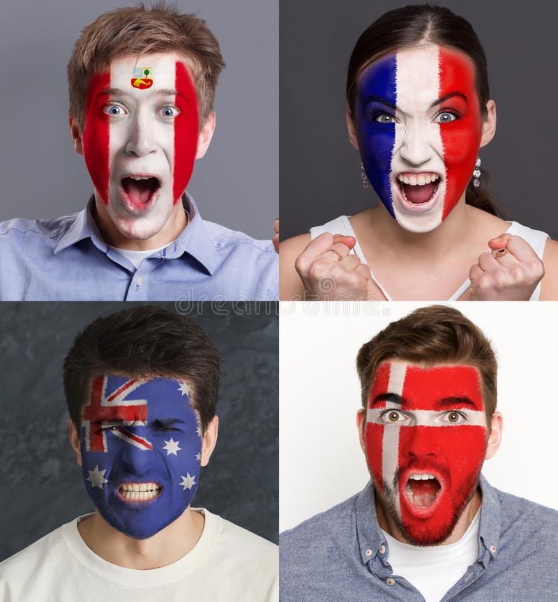 Emotional soccer fans with painted flags on faces. Emotional soccer fans with painted flags of France, Australia, Peru and Denmark on faces. Rooters of football stock image