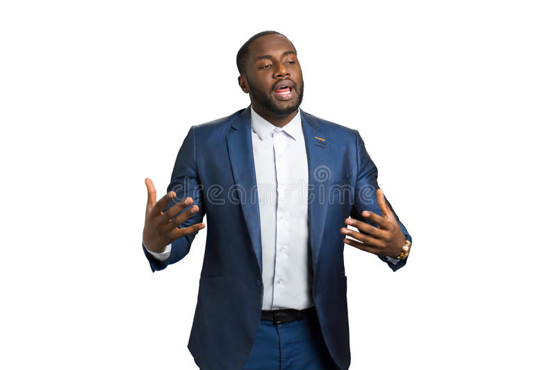 Emotional speech of business trainer. royalty free stock images