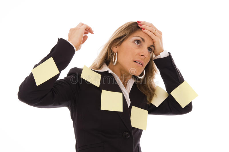 Emotional Stress. Business woman with many reminders on her body royalty free stock images