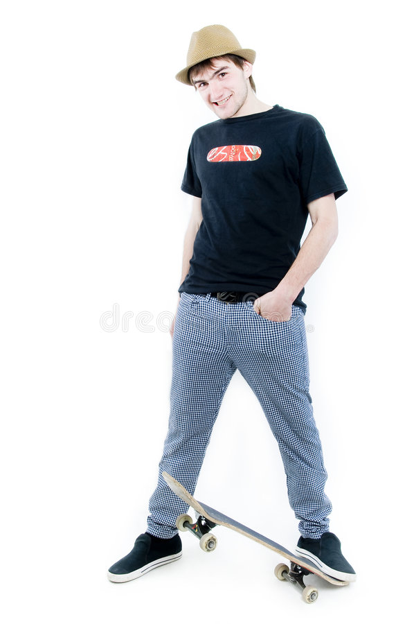 Emotional teenager with skate stock photos