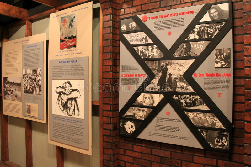 Emotional timeline of life in the Oswego Refugee Camp,WWII,Albany State Museum,2016. Emotional timeline that chronicles the life and what it was like in Oswego stock photo