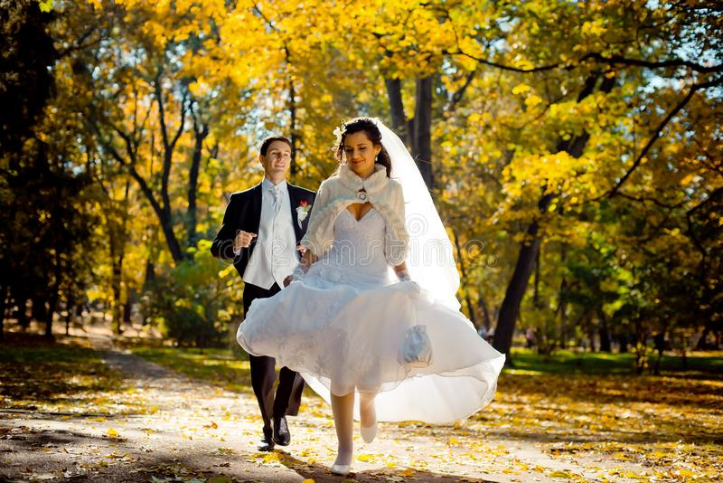 Emotional wedding portrait of the handsome groom running after the beautiful gorgeous bride along the autumn park. stock photo
