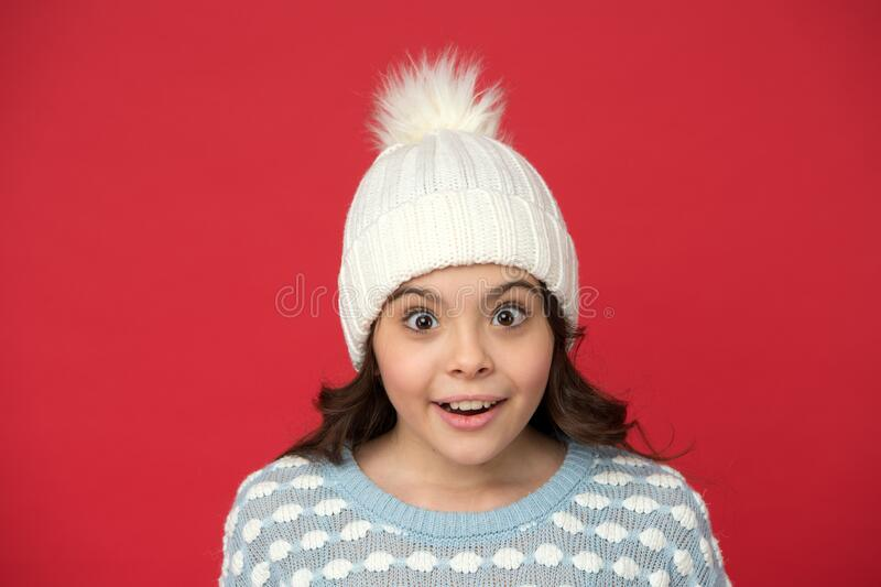 Emotional wellbeing. Emotions concept. Girl enjoy winter. Adorable baby. Angel child. Child in cosy knitted outfit stock photos